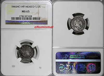 Mexico Republic Silver 1846 Mo MF  1/2 Real NGC MS65 TOP GRADED ! KM# 370.9