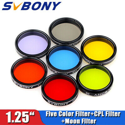 "7PCS  SVBONY 1.25"" Moon Filter+CPL Filter+5 Color Filter Kit for telescope New"