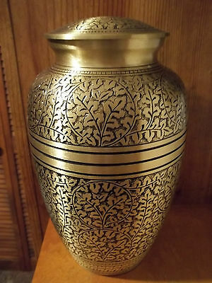 Adult Brass Cremation Urn~Bronze w/Black~~Oak Leafy Design~up to 200 lbs