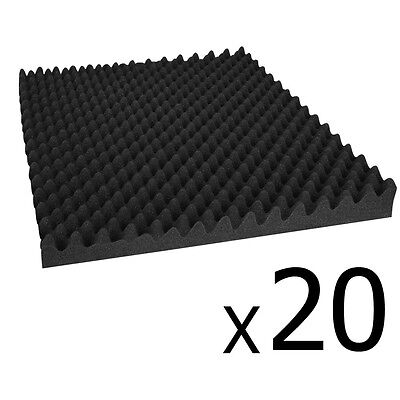 NEW 50x50cm Black Home Studio 20 Eggshell Sound Absorption Audio Acoustic Foam