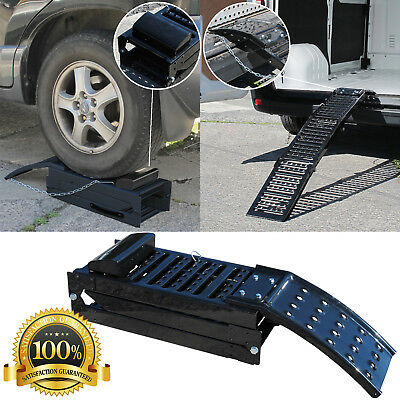 Folding Black Steel Car Ramps Dual Purpose Steel Motorcycle Loading Ramp Single