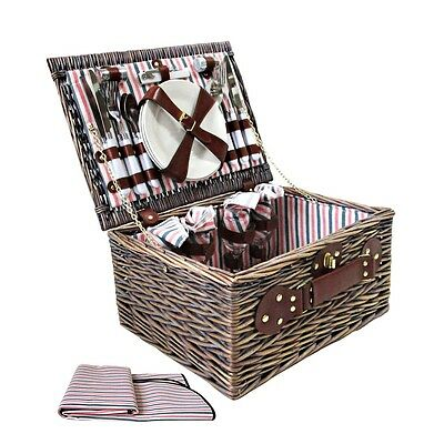 NEW 4 Person Outdoor Family Camping Picnic Brown Basket Set with Ground Blanket