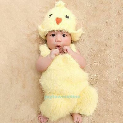 Newborn Infant Baby Boys Girl Chicken Outfit Costume+Hat Photography Photo Props