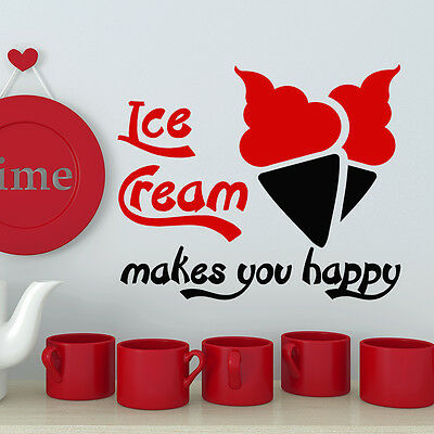 Wall Decal Ice Cream makes Your Happy Decal Kitchen Decor Cafe Sticker AR143