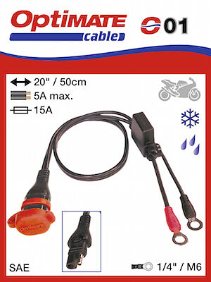 Optimate 2 3 4 5 6 Weatherproof 12v Fused Eyelet Connection Lead (SAE71) (01)