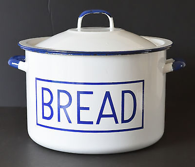 Original Large White Enamel Bread Bin Embossed Lettering Storage VGC
