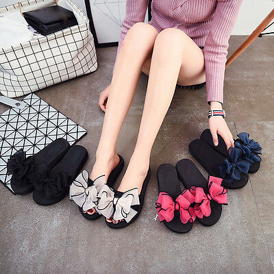 Ladies Girls Summer Thong Beach Flat Flip Flops Slipper Ribbon Bow Sandals Shoes