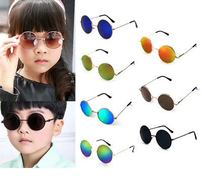 Retro Vintage Cool Baby Girls Boys Kids Round Sunglasses Metal Outdoor Glasses