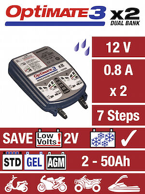 Optimte 3 Dual Motorcycle 12V Battery Charger Optimiser SAE Version NEW