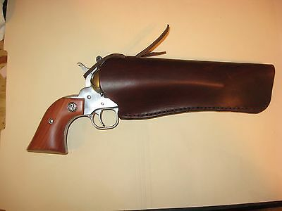"Western Cowboy Quick Draw Leather Holster up to 7-1/2"" Barrel to 2-3/4"" Belt"