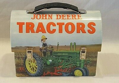 New John Deere Tractors Moline Ill Round Top Tin Carry Lunch Box #730028