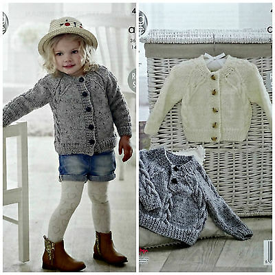 KNITTING PATTERN Childrens Cable Cardigan & Jumper Aran King Cole 4920