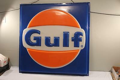 Vintage 1960s Gulf Gas Station 4ft x 4ft Plastic Advertising Sign Road Display