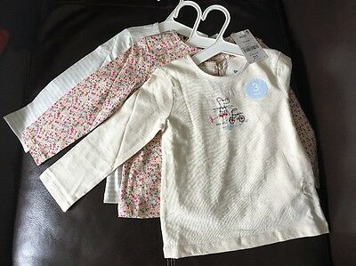 BNWT Next Baby Girls Long Sleeved Tops 3 Pack 12-18 Months