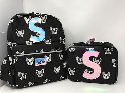 """Justice for Girls Puppy Set ~Backpack & Lunch Tote~ Initial """"S"""" NWT!"""