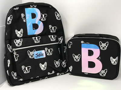 """Justice for Girls Puppy Set ~Backpack & Lunch Tote~ Initial """"B"""" NWT!"""