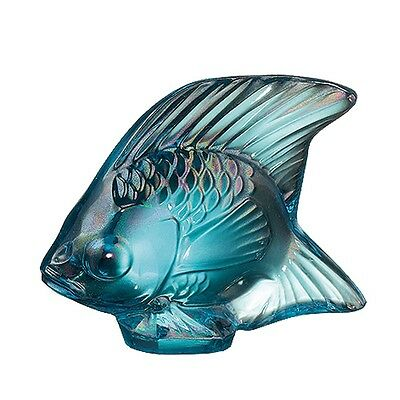 Factory New Lalique France Fish Sculpture in 'Turquoise Luster ' w/ Box