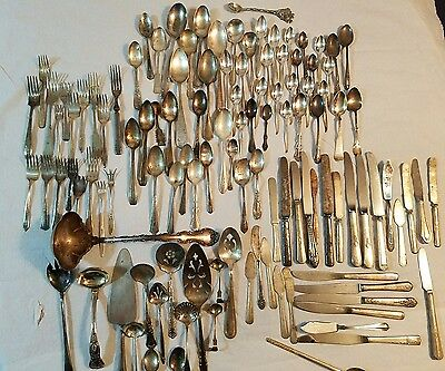 Vintage Sterling Silver and Silver Plated Silverware lot of 110 mixed pieces
