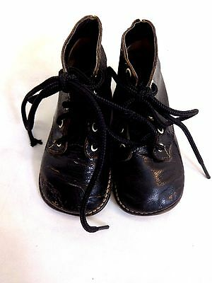 "Vintage Black Leather Antique Baby Shoes 5.5"" Soles Size 3.5"
