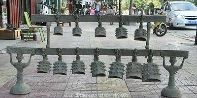 """52""""China Old Bronze Folk Dynasty beast Musical Instruments Chimes Chime Bell Set"""