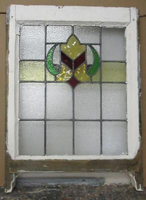 "EDWARDIAN ENGLISH LEADED STAINED GLASS  SASH WINDOW Crest Design 20.25"" x 25"""