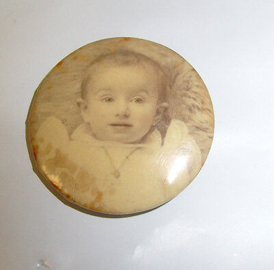 Antique Victorian Celluloid Photo  Button Baby In White  Pinback