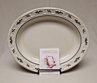 Longaberger Pottery Woven Traditions Traditional Holly Oval Serving Platter