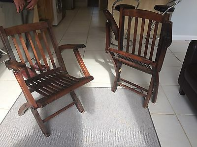 Pair Of Collapsable Oak Edwardian Ship Deckchairs Retailed By Baltic Wharf