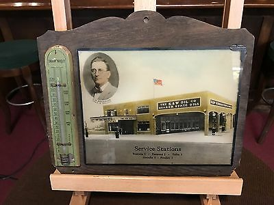 "1915 Quaker State Gas Station Reverse Glass Ad 12"" Sign ""Watch Video"""