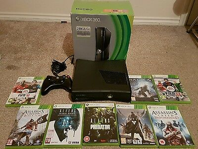 Xbox 360 250Gb Console Boxed + 8 Games Bundle