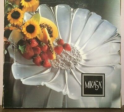 "Large MIKASA Frosted Crystal Sunflower Centerpiece Serving Dish 17"" MIB"