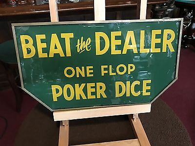 "1940's Reverse Glass Sign ""BEAT THE DEALER"" Casino DICE 18"" ""Watch Video"""