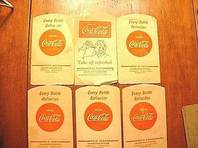 Lot of 6 1930-40's Coca Cola Advertising No Drip Bottle Wraps