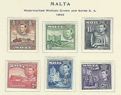 Malta - #192A-#197A - King George Vi Issue Mint Stamps (1943) Mh