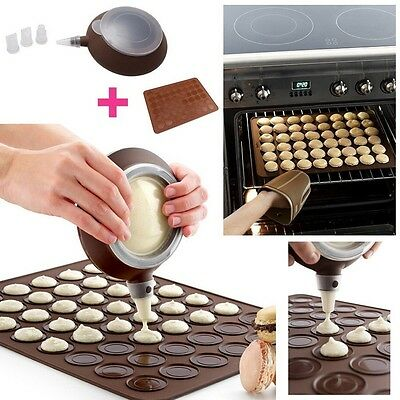 Baking Set with Mat in Silicone | Macarons Cake Mould with Piping Bag | Must-hav