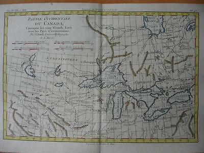 1780s - BONNE - Map USA CANADA Great Lakes with Forts   Chicago Illinois Detroit