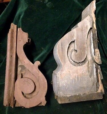 Architectural Salvage Two Large Wood Corbels For Restoration