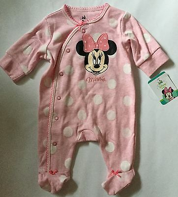 Baby Girl Pink Sleepsuit with Minnie Mouse detail