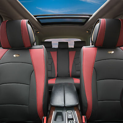 Car SUV Truck PU Leather Seat Cushion Covers 5 Seat Full Set Seats Solid Black