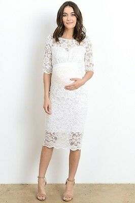 6770b11a8e143 Hello Miz 3/4 Sleeve Ivory Floral Lace Maternity Dress Knee Length | Made In