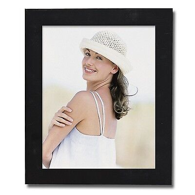 """Adeco 8x10"""" Black Wood Wall Hanging or Table Top Photo Picture Frame,Glass Cover"""