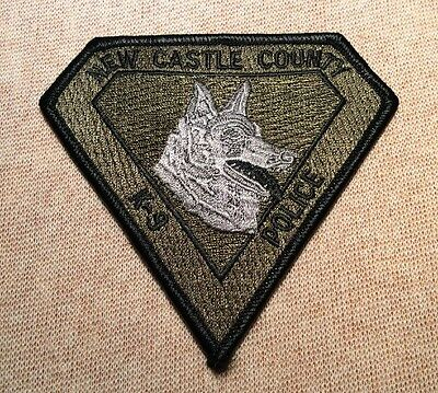 DE New Castle County Delaware K-9 Unit Police Patch (Olive)
