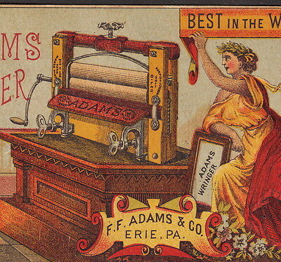 Antique Adams Clothes Wringer Columbia Davenport IA 1880s Advertising Trade Card