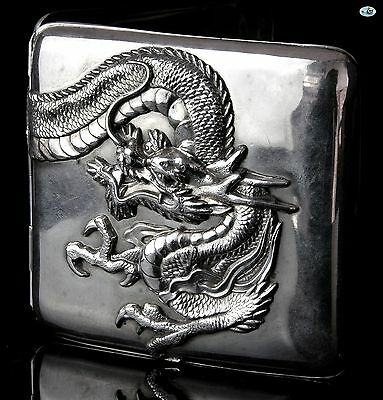 Fabulous Antique Chinese Export Sterling Silver Dragon Cigarette Case