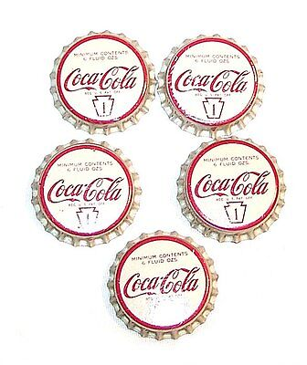 5 50s Coca Cola Coke White Cork Soda Pop Bottle Caps NOS Flat Sign Can Top MkOfr