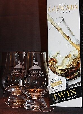 Laphroaig Pagoda Twin Pack Glencairn Whisky Glasses W/ 2 Watch Glass Covers