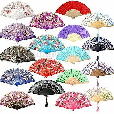 🇬🇧 Chinese Flower Lace Silk Folding Hand Held Fan Wedding Dancing Party Prom