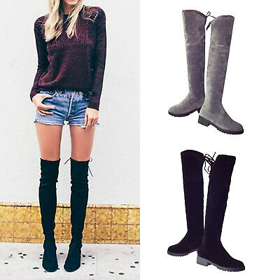 New UK Women Flat Faux Suede Over the Knee Boots Stretched Thigh Winter Shoes SZ