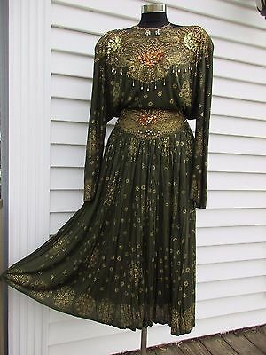 Vintage 80s Beaded Sequin Skirt Set Rayon Gypsy Boho Belly Dancer Free Size