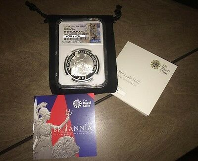 First 500 2016 Britannia PROOF 1oz .999 Silver NGC PF70 VERY RARE w/ COA DCAM